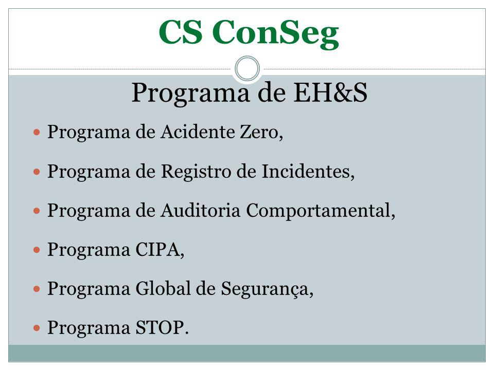 CS ConSeg Programa de EH&S Programa de Acidente Zero,