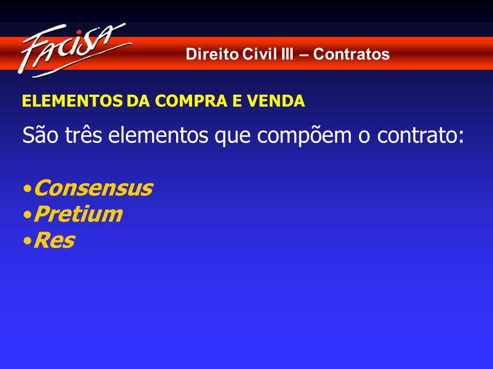 São três elementos que compõem o contrato: Consensus Pretium Res