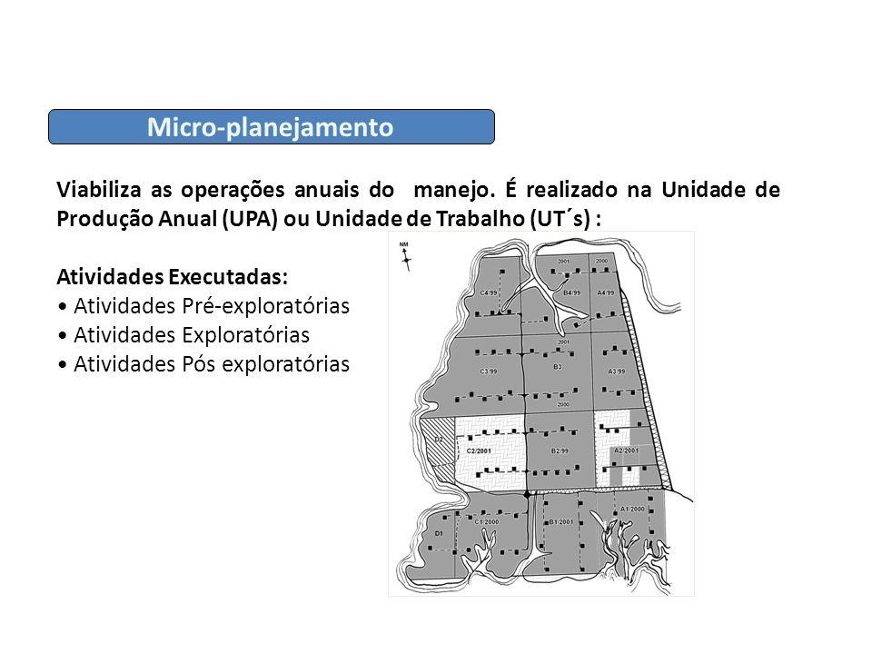 Micro-planejamento Viabiliza as operações anuais do manejo. É realizado na Unidade de Produção Anual (UPA) ou Unidade de Trabalho (UT´s) :