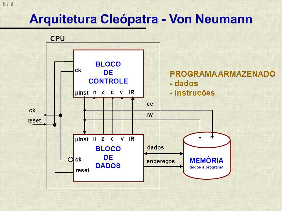 Arquitetura Cleópatra - Von Neumann MEMÓRIA dados e programa