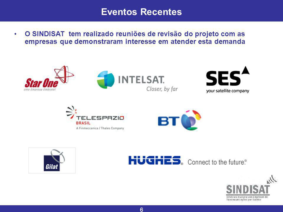 Eventos Recentes O SINDISAT tem realizado reuniões de revisão do projeto com as empresas que demonstraram interesse em atender esta demanda.