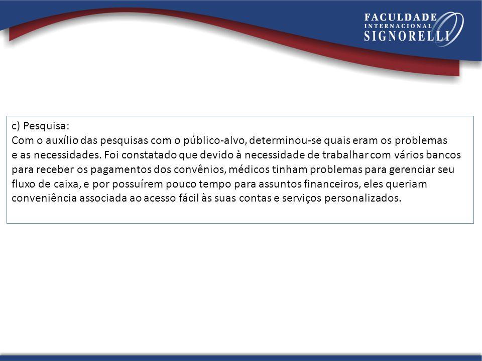c) Pesquisa: Com o auxílio das pesquisas com o público-alvo, determinou-se quais eram os problemas.