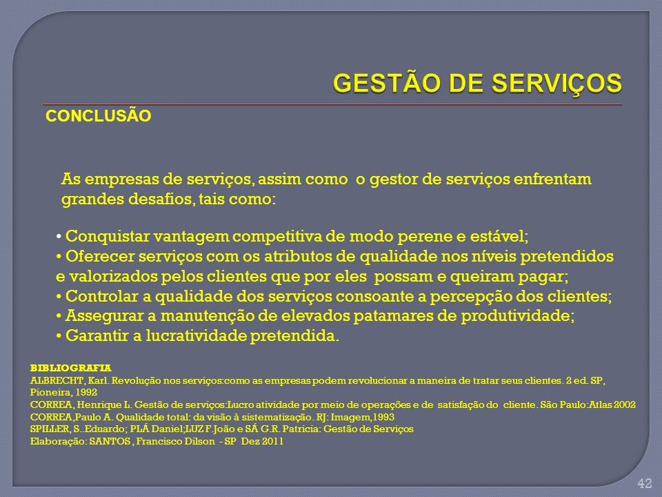 GESTÃO DE SERVIÇOS CONCLUSÃO
