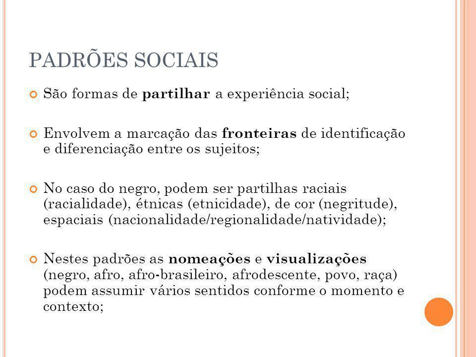 PADRÕES SOCIAIS São formas de partilhar a experiência social;