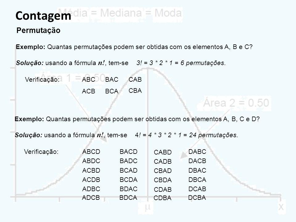 Contagem Permutação. Exemplo: Quantas permutações podem ser obtidas com os elementos A, B e C