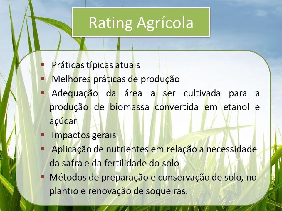 Rating Agrícola Práticas típicas atuais Melhores práticas de produção