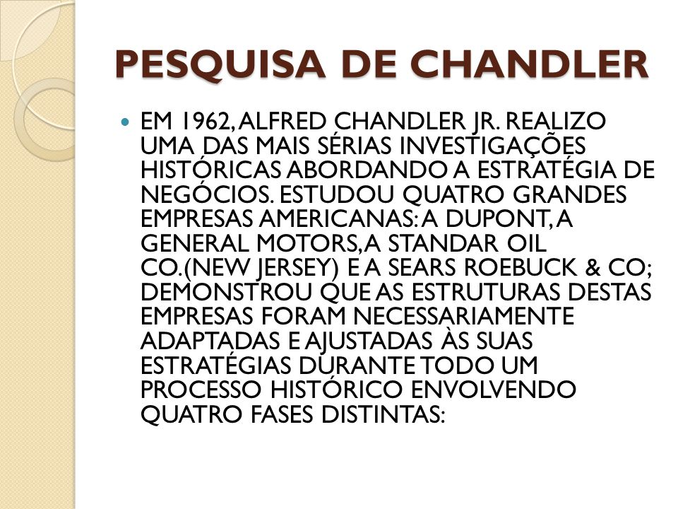 PESQUISA DE CHANDLER