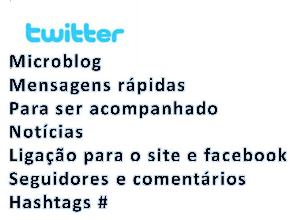 Microblog Mensagens rápidas. Para ser acompanhado. Notícias. Ligação para o site e facebook. Seguidores e comentários.