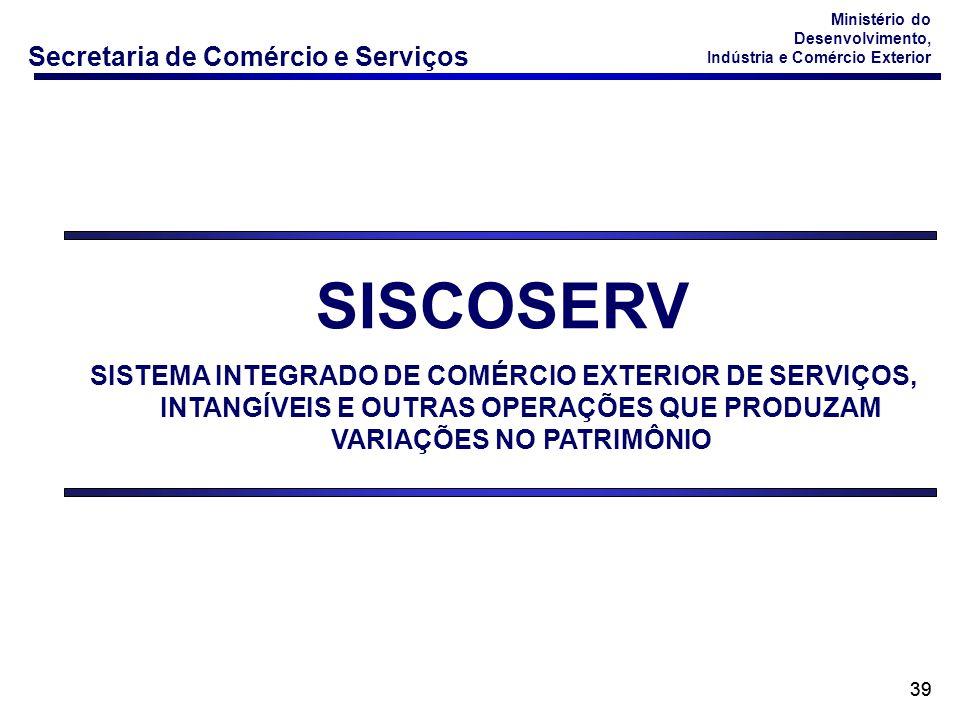 SISCOSERV SISTEMA INTEGRADO DE COMÉRCIO EXTERIOR DE SERVIÇOS, INTANGÍVEIS E OUTRAS OPERAÇÕES QUE PRODUZAM VARIAÇÕES NO PATRIMÔNIO.