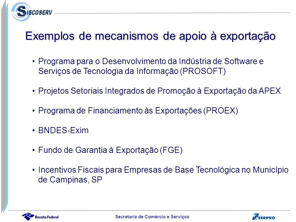 Exemplos de mecanismos de apoio à exportação
