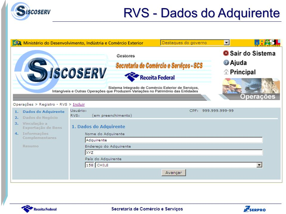 RVS - Dados do Adquirente