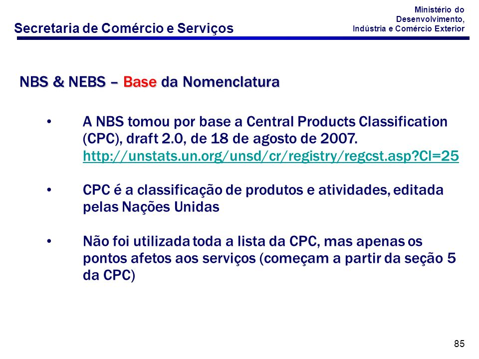 NBS & NEBS – Base da Nomenclatura