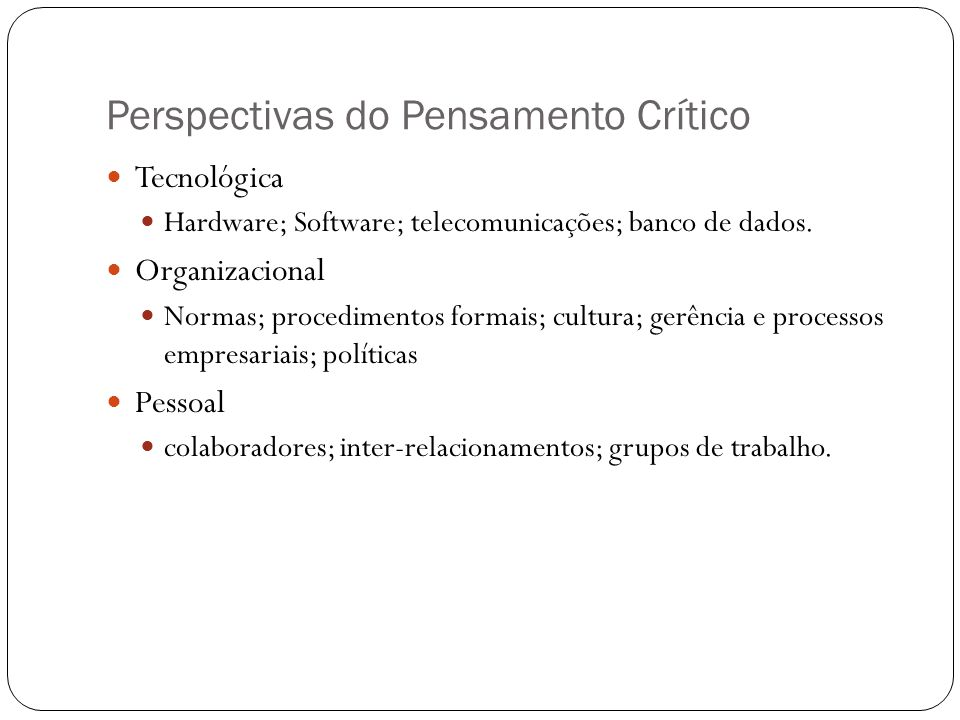Perspectivas do Pensamento Crítico