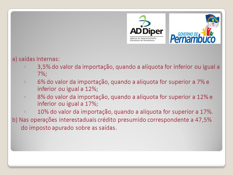 a) saídas internas: 3,5% do valor da importação, quando a alíquota for inferior ou igual a 7%;