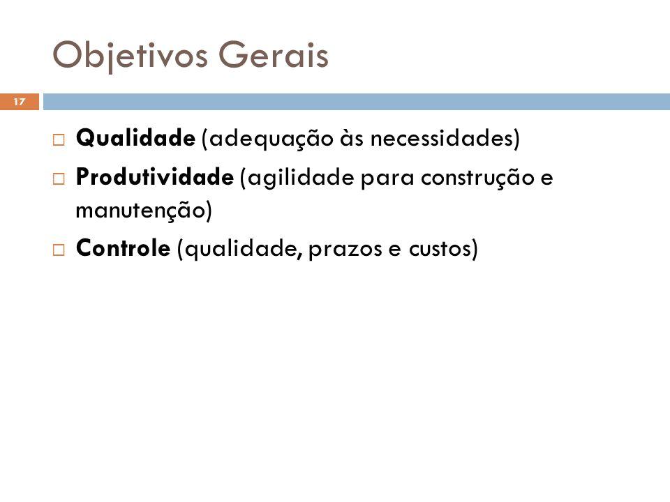 Objetivos Gerais Qualidade (adequação às necessidades)