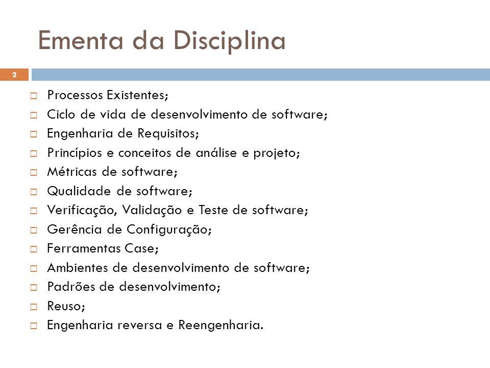 Ementa da Disciplina Processos Existentes;