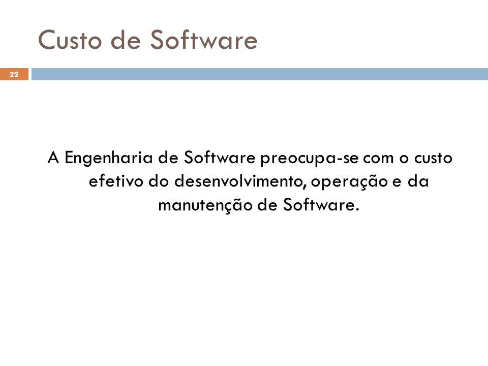 Custo de Software A Engenharia de Software preocupa-se com o custo efetivo do desenvolvimento, operação e da manutenção de Software.