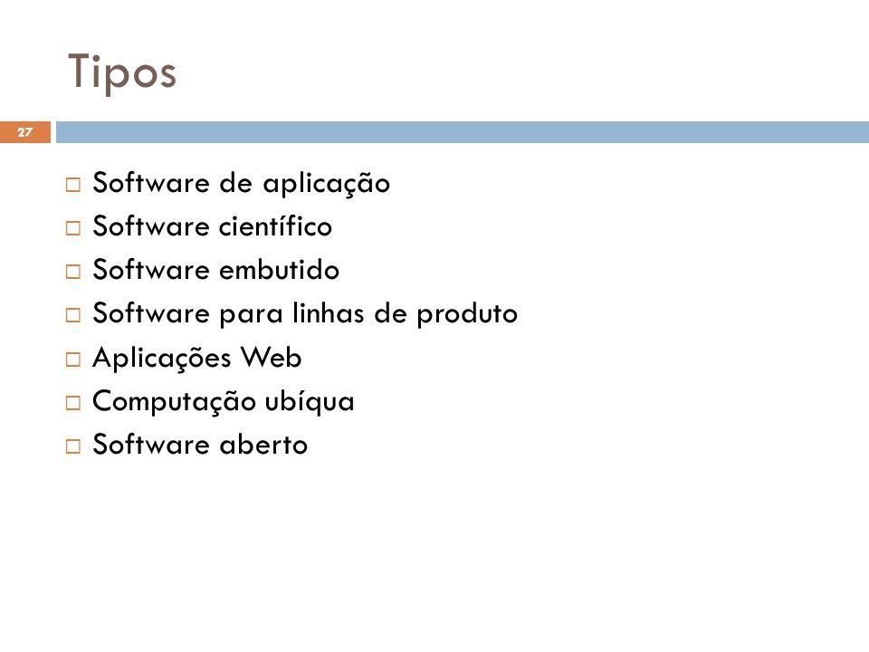 Tipos Software de aplicação Software científico Software embutido