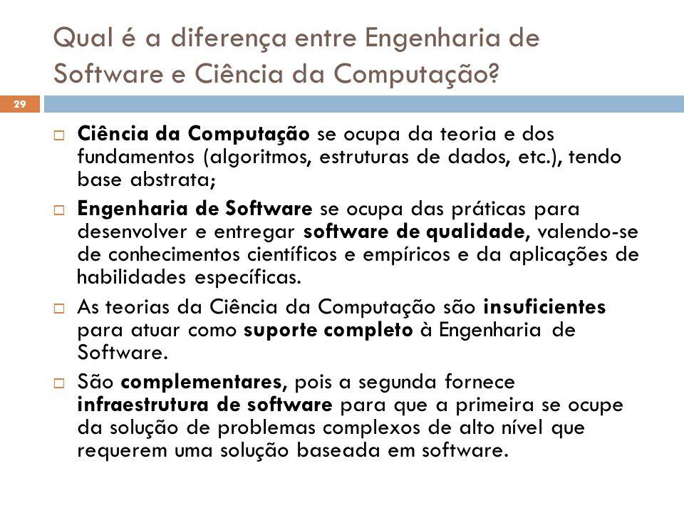 Qual é a diferença entre Engenharia de Software e Ciência da Computação