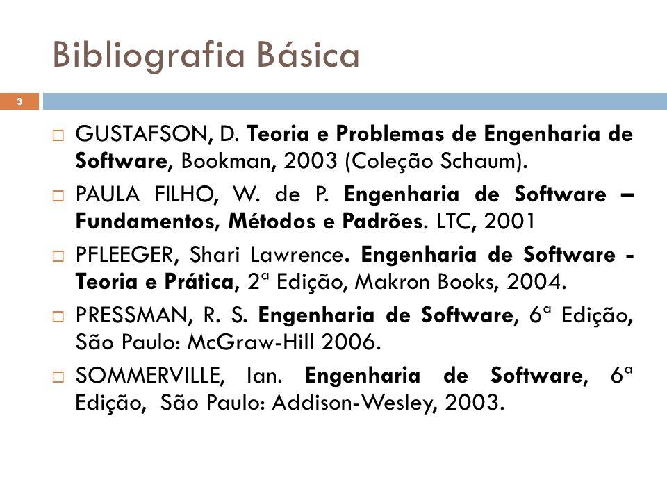 Bibliografia Básica GUSTAFSON, D. Teoria e Problemas de Engenharia de Software, Bookman, 2003 (Coleção Schaum).