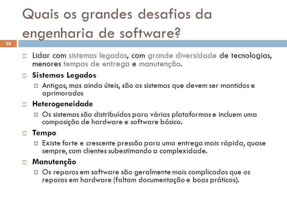 Quais os grandes desafios da engenharia de software