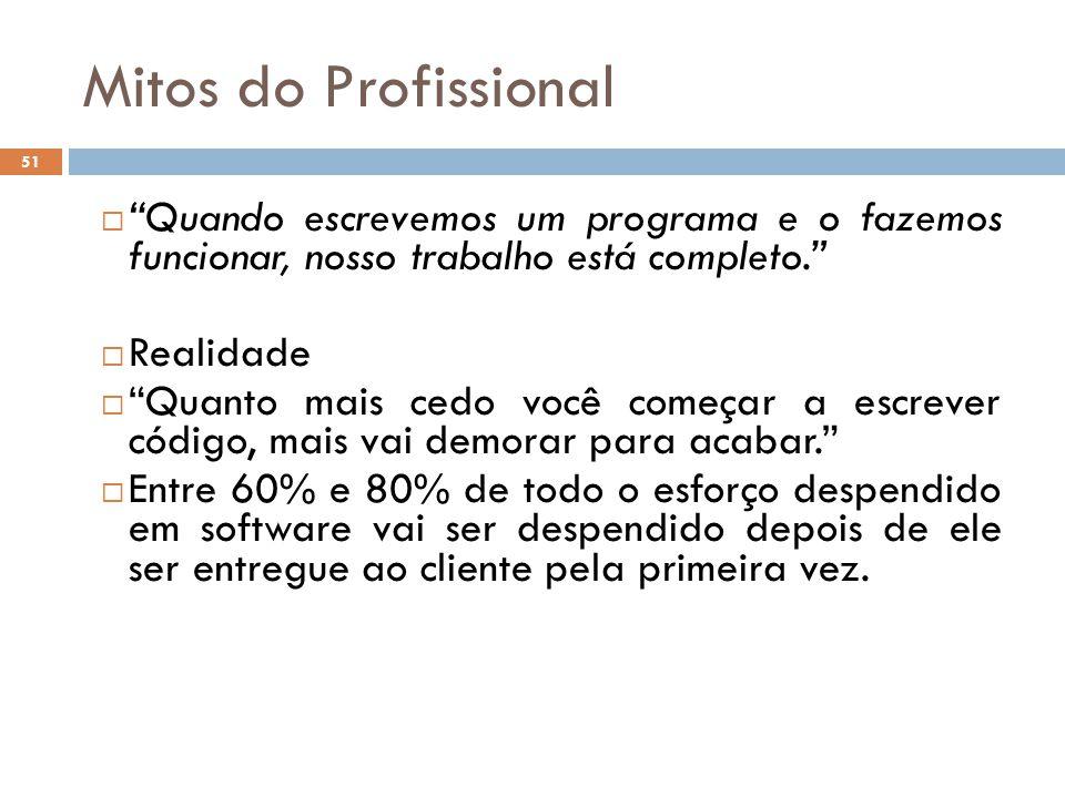 Mitos do Profissional Quando escrevemos um programa e o fazemos funcionar, nosso trabalho está completo.