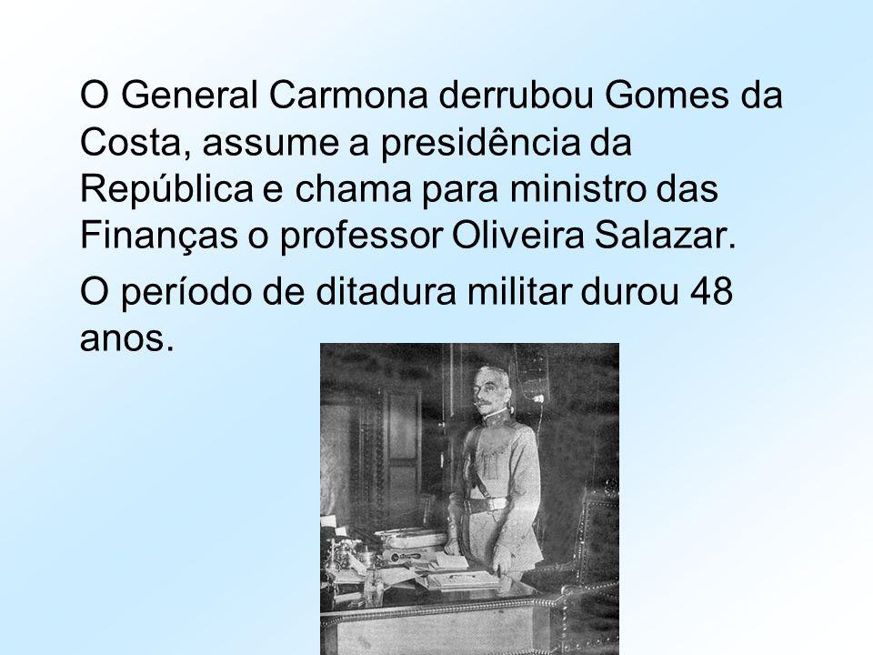 O General Carmona derrubou Gomes da Costa, assume a presidência da República e chama para ministro das Finanças o professor Oliveira Salazar.