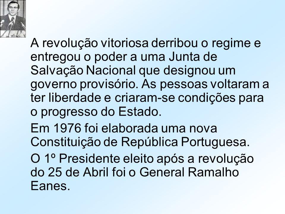 A revolução vitoriosa derribou o regime e entregou o poder a uma Junta de Salvação Nacional que designou um governo provisório. As pessoas voltaram a ter liberdade e criaram-se condições para o progresso do Estado.