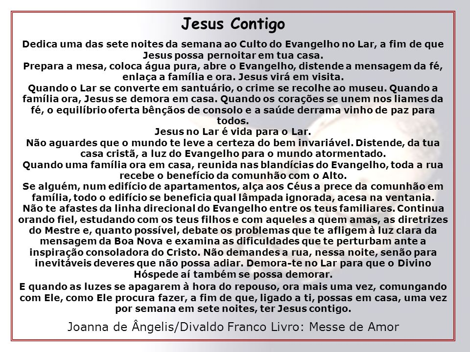 Jesus no Lar é vida para o Lar.