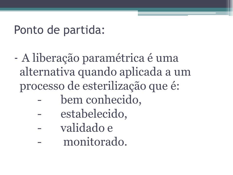 Ponto de partida: - A liberação paramétrica é uma alternativa quando aplicada a um processo de esterilização que é: - bem conhecido, - estabelecido, - validado e - monitorado.