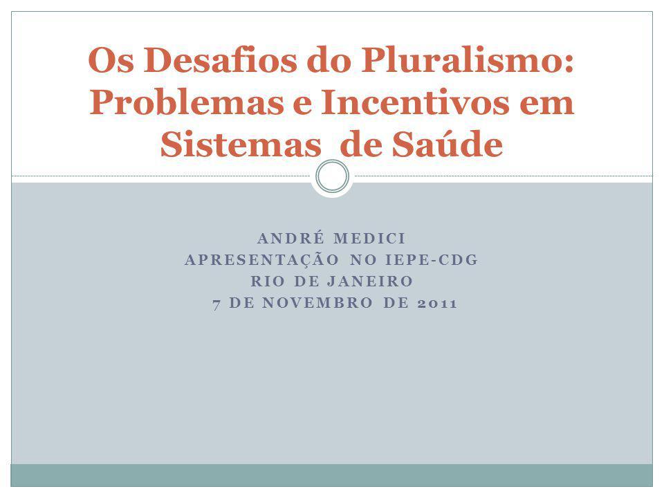 Os Desafios do Pluralismo: Problemas e Incentivos em Sistemas de Saúde