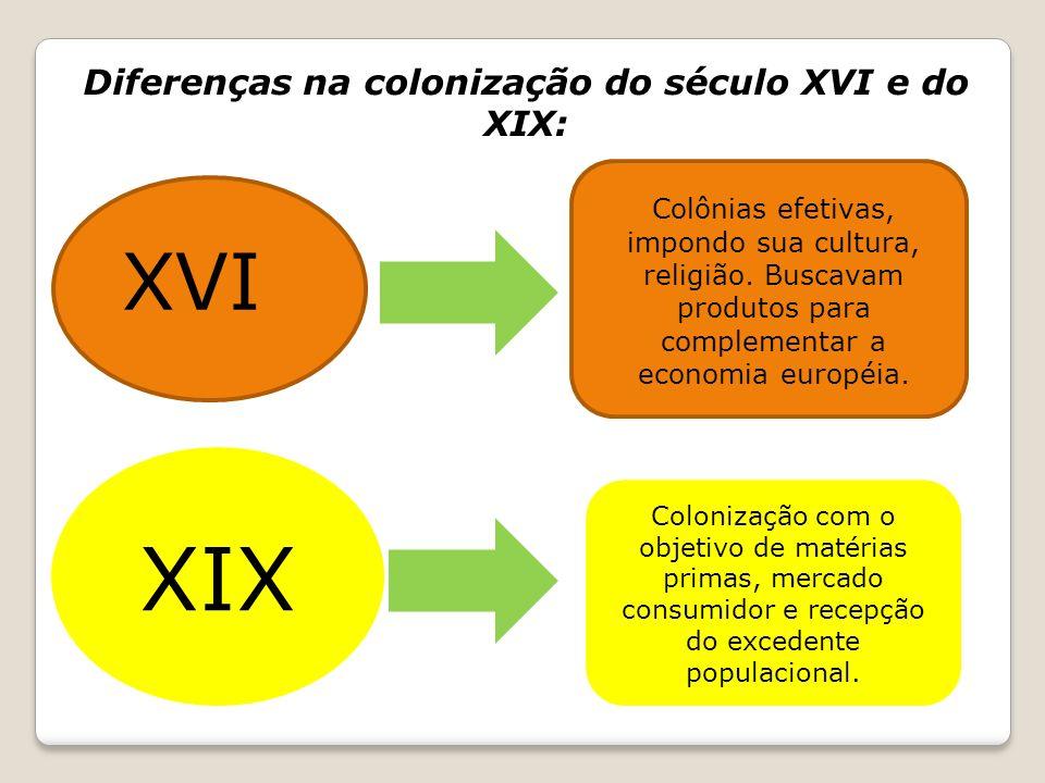 Diferenças na colonização do século XVI e do XIX: