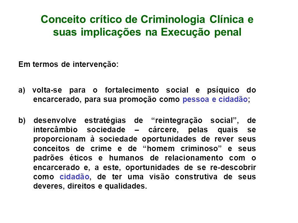 Conceito crítico de Criminologia Clínica e suas implicações na Execução penal