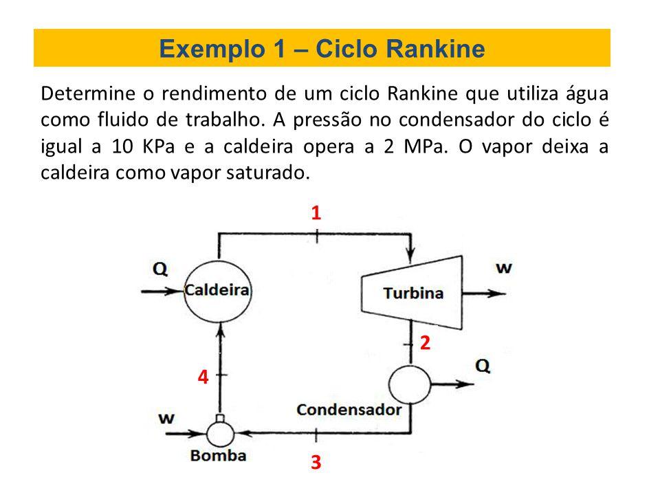 Exemplo 1 – Ciclo Rankine