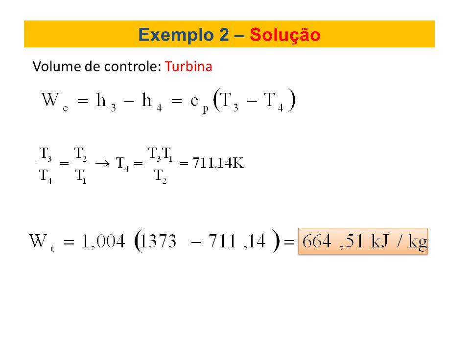 Exemplo 2 – Solução Volume de controle: Turbina