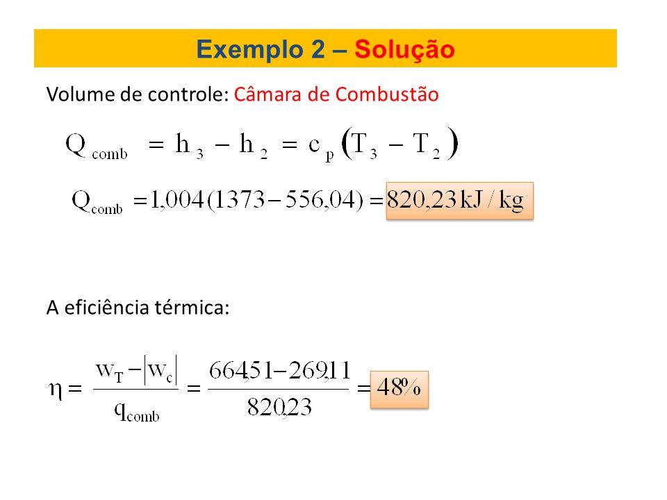 Exemplo 2 – Solução Volume de controle: Câmara de Combustão