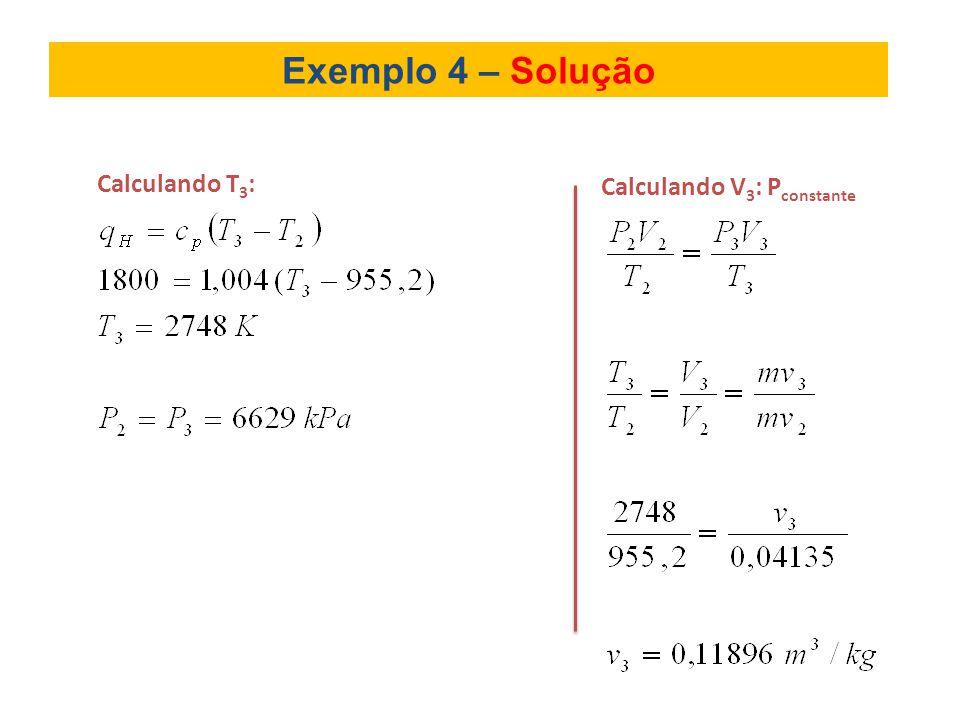 Exemplo 4 – Solução Calculando T3: Calculando V3: Pconstante