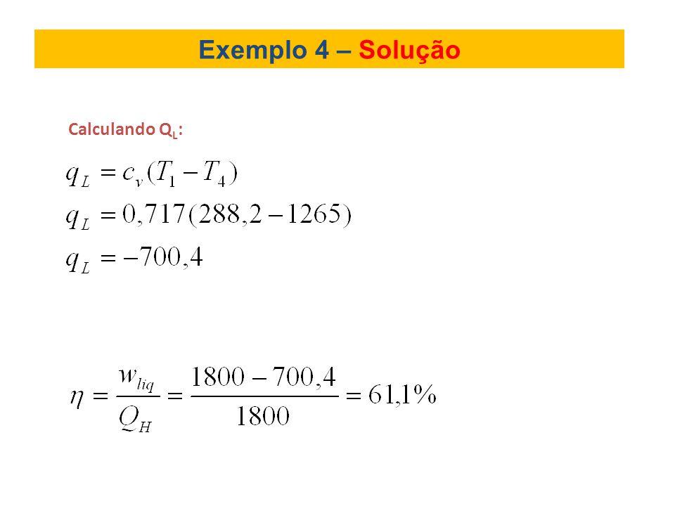 Exemplo 4 – Solução Calculando QL: