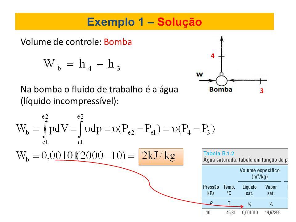 Exemplo 1 – Solução Volume de controle: Bomba