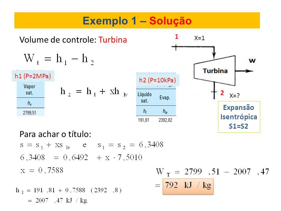 Exemplo 1 – Solução Volume de controle: Turbina Para achar o título: