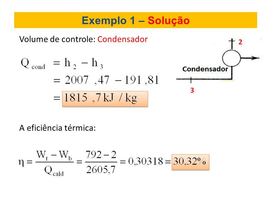 Exemplo 1 – Solução Volume de controle: Condensador