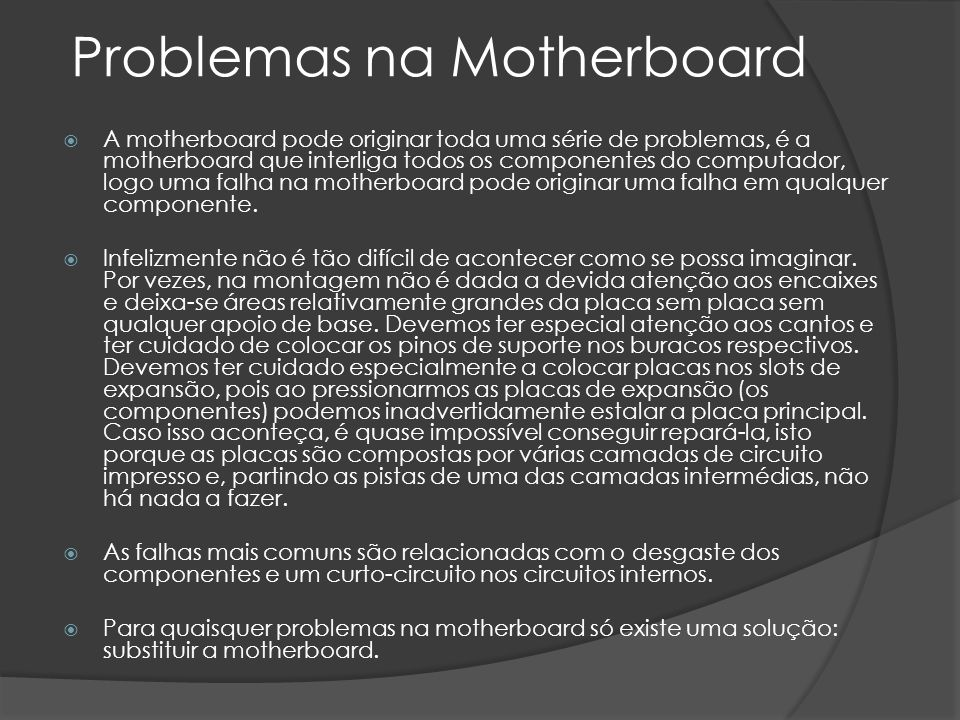 Problemas na Motherboard