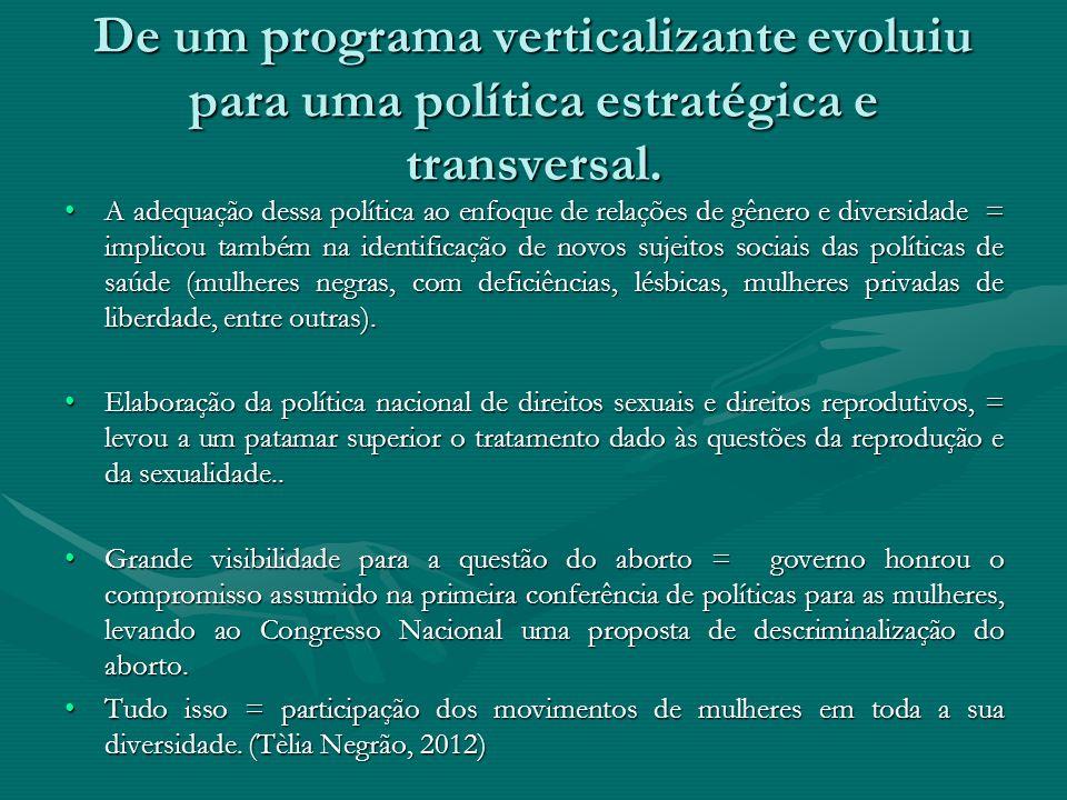 De um programa verticalizante evoluiu para uma política estratégica e transversal.