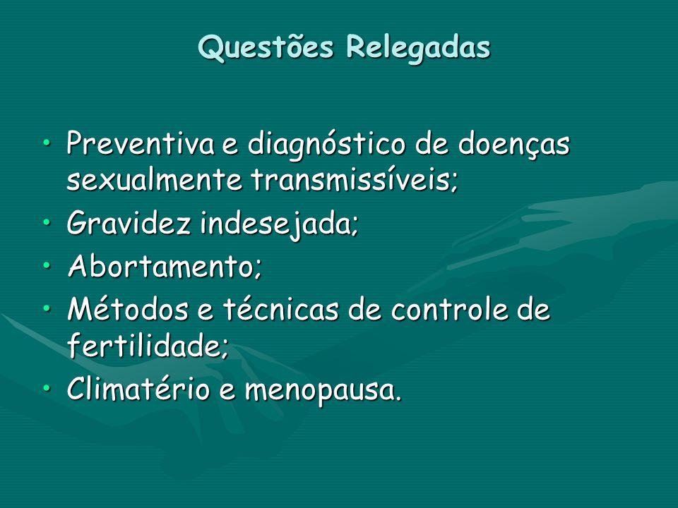 Questões Relegadas Preventiva e diagnóstico de doenças sexualmente transmissíveis; Gravidez indesejada;