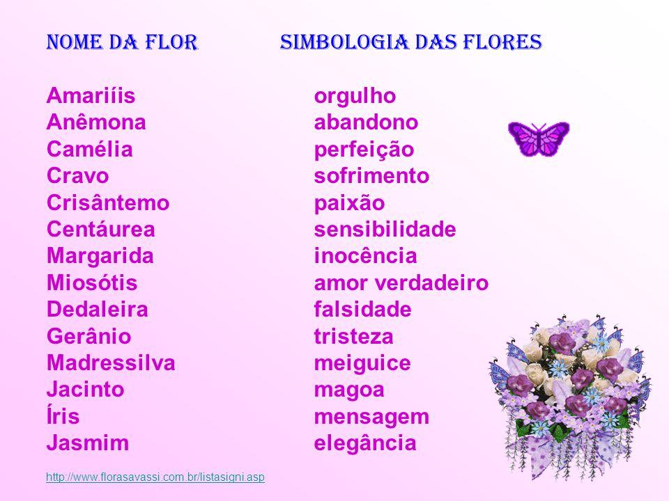 Nome da Flor Simbologia das flores Amariíis orgulho Anêmona abandono