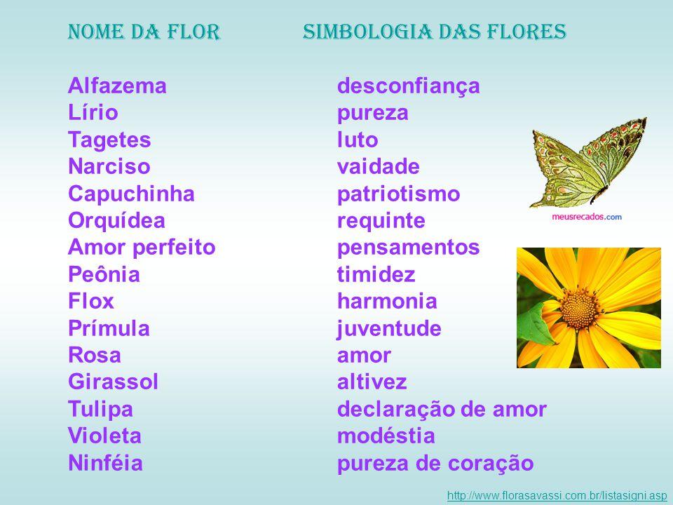Nome da Flor Simbologia das flores Alfazema desconfiança Lírio pureza
