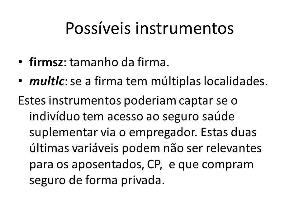 Possíveis instrumentos