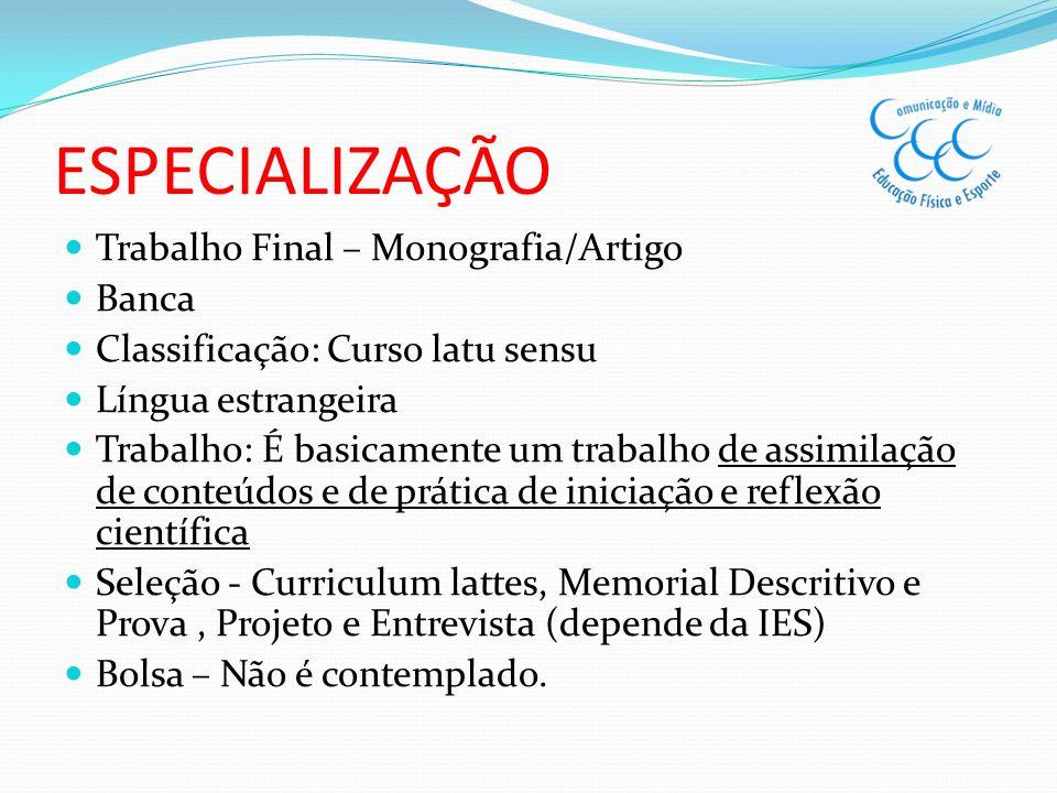 ESPECIALIZAÇÃO Trabalho Final – Monografia/Artigo Banca