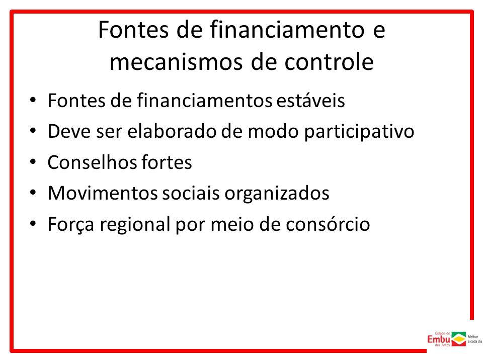 Fontes de financiamento e mecanismos de controle
