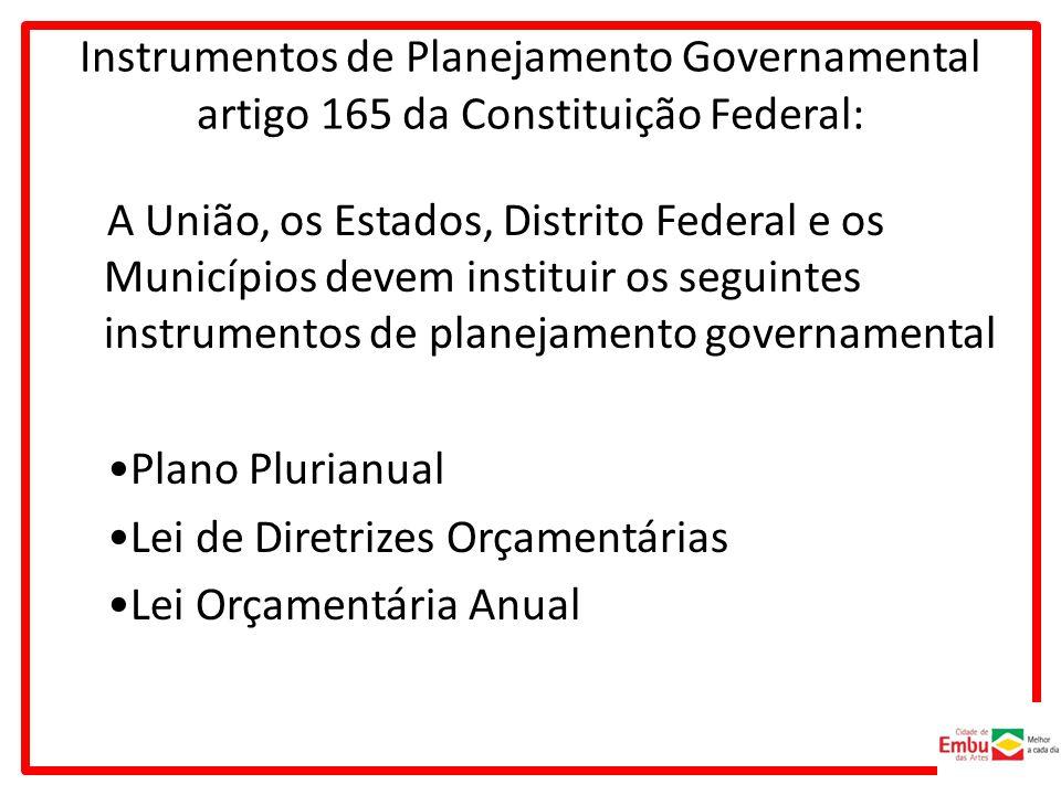 Instrumentos de Planejamento Governamental artigo 165 da Constituição Federal: